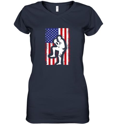 8j68 vintage usa american flag baseball player team gift women v neck t shirt 39 front navy