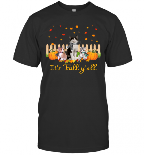 It's Fall Y'all Pumpkins Cat Halloween Costume T-Shirt