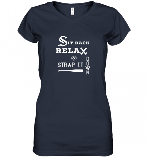 juou sit back relax strap it down chicago baseball hawk women v neck t shirt 39 front navy