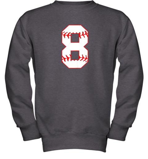 su2u cute eighth birthday party 8th baseball shirt born 2011 youth sweatshirt 47 front dark heather