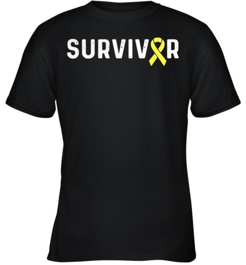 Awareness Cancer Yellow Ribbon Survivor Youth T-Shirt