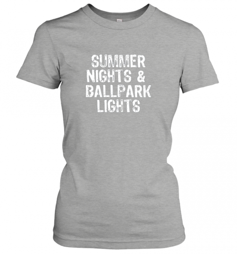 pby6 summer nights and ballpark lights baseball softball ladies t shirt 20 front ash