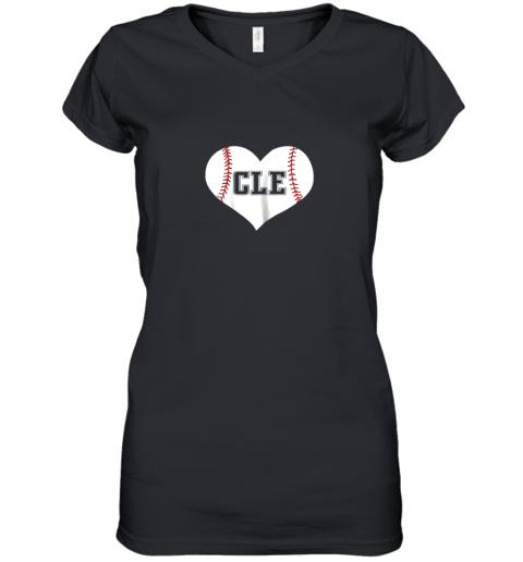 Cleveland Ohio Baseball Love Heart CLE Gift Jersey Fan Women's V-Neck T-Shirt