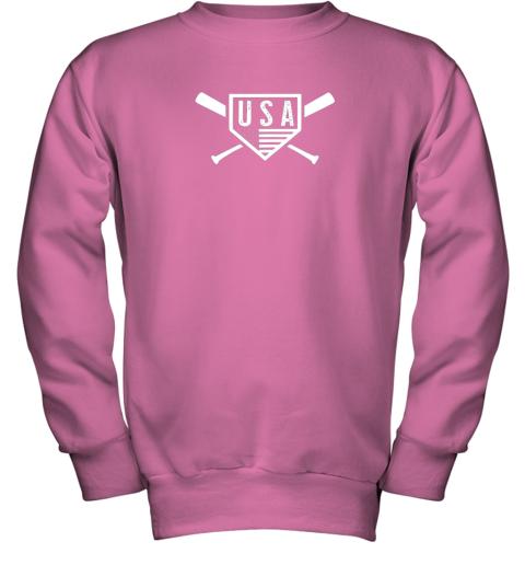 spvc vintage american baseball and softball usa flag youth sweatshirt 47 front safety pink