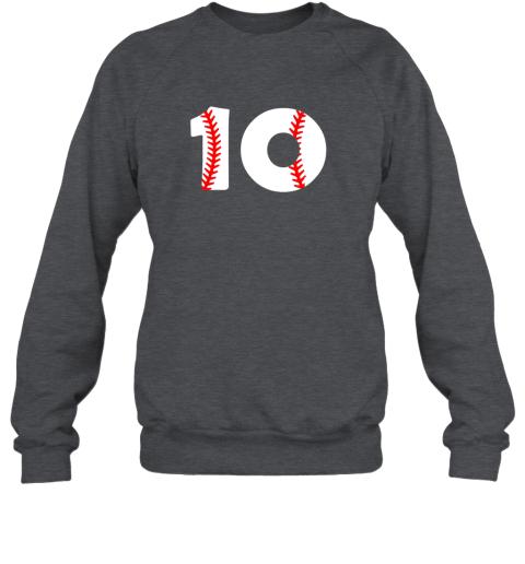 op0n tenth birthday 10th baseball shirtnumber 10 born in 2009 sweatshirt 35 front dark heather