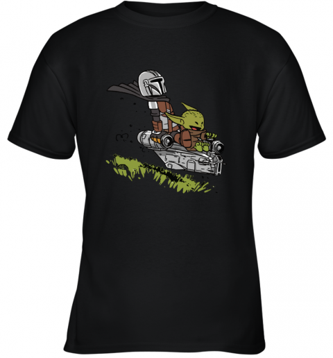 Baby Yoda And Mandalorian Calvin And Hobbes Youth T-Shirt