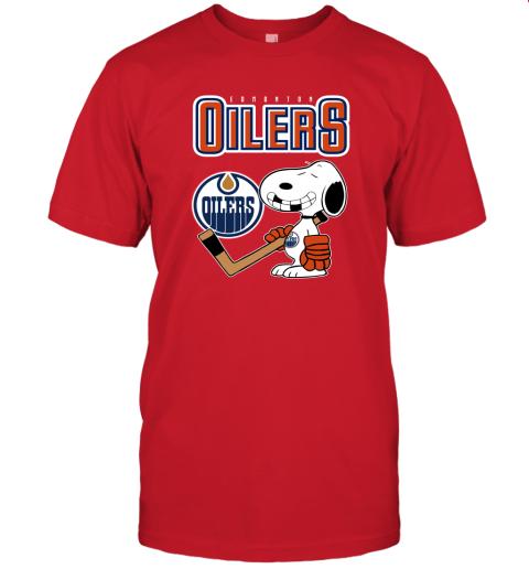 vmpn edmonton oilers ice hockey broken teeth snoopy nhl shirt jersey t shirt 60 front red