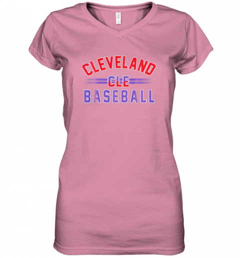 cqj8 cleveland cle baseball women v neck t shirt 39 front azalea