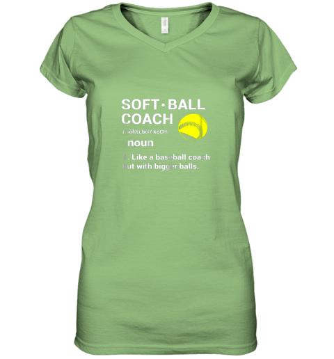 ywqb soft ball coach like baseball bigger balls softball women v neck t shirt 39 front lime