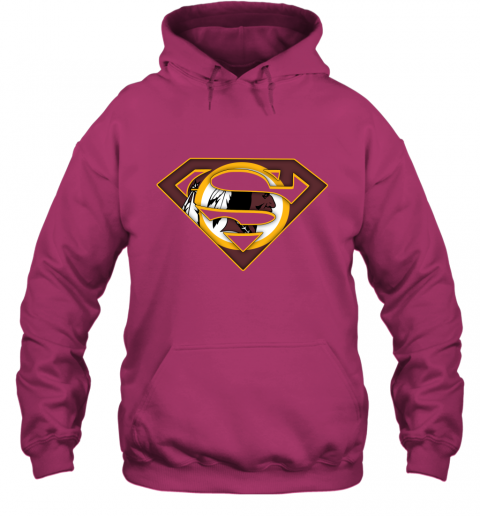 67kt we are undefeatable the washington redskins x superman nfl hoodie 23 front heliconia