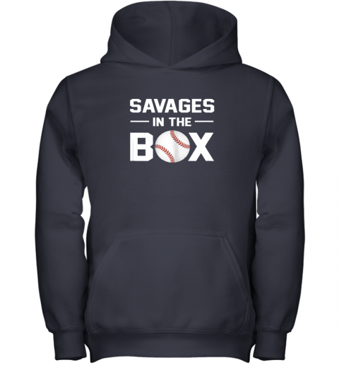 pjii savages in the box shirt baseball gift youth hoodie 43 front navy