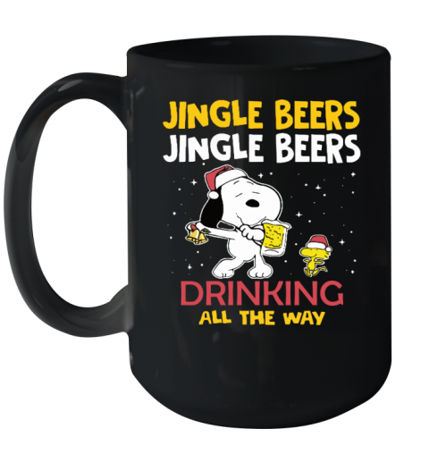 Jingle Beers Drinking All The Way Snoopy Ceramic Mug 15oz