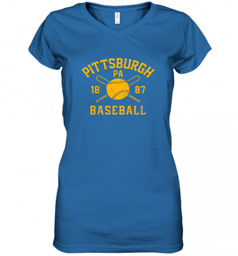 ib3x vintage pittsburgh baseball pennsylvania pirate retro gift women v neck t shirt 39 front royal