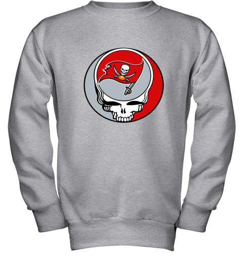 dwmc nfl team tampa bay buccaneers x grateful dead youth sweatshirt 47 front sport grey