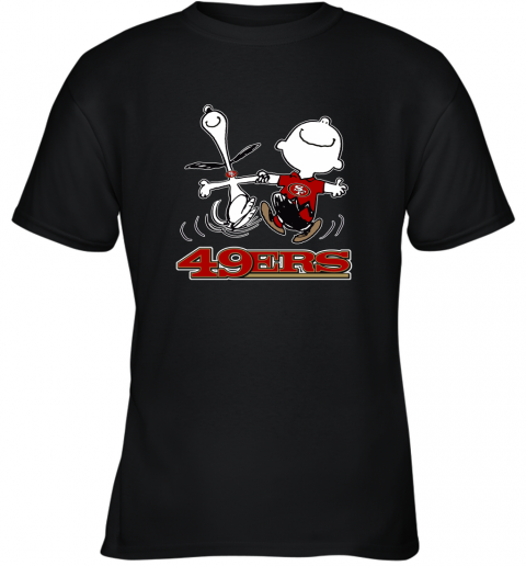 Snoopy And Charlie Brown Happy San Francisco 49ers Fans Youth T-Shirt