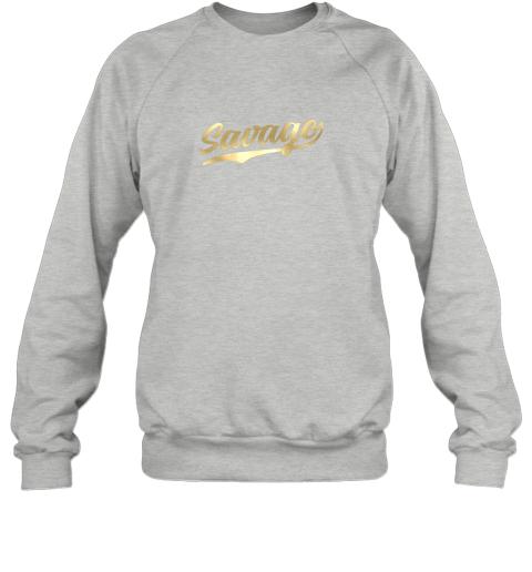 hw0q savage shirt retro 1970s baseball script font sweatshirt 35 front sport grey