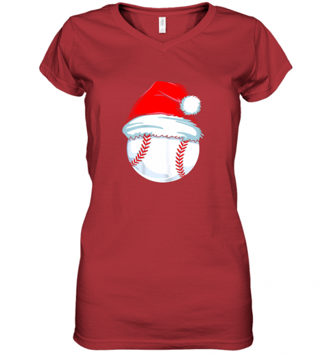 olng christmas baseball shirt for kids men ball santa pajama women v neck t shirt 39 front red