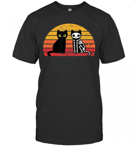 Retro Vintage Funny Cats Halloween Costume Men Women Gift T-Shirt