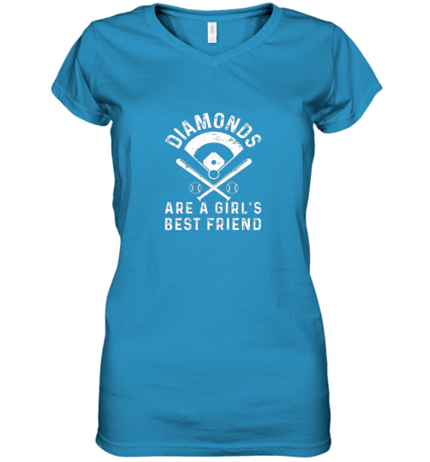 nxj8 diamonds are a girl39 s best friend baseball women v neck t shirt 39 front sapphire