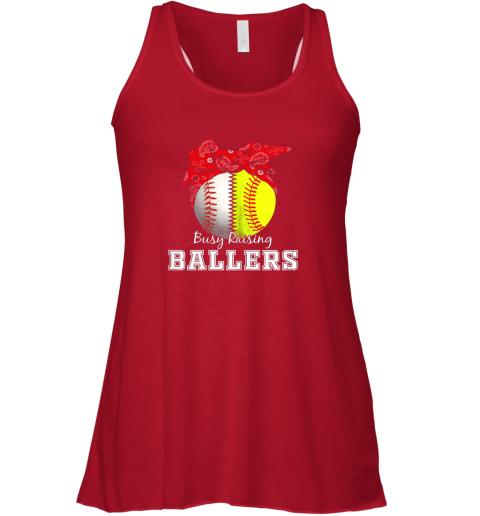 5sj1 busy raising ballers softball baseball shirt baseball mom flowy tank 32 front red