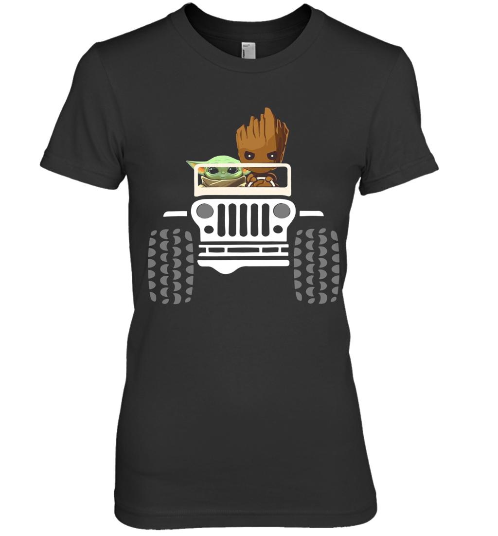 Baby Yoda And Baby Groot Driving Jeep Premium Women's T-Shirt