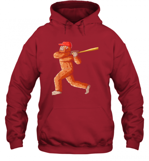 3pdz bigfoot baseball sasquatch playing baseball player hoodie 23 front red