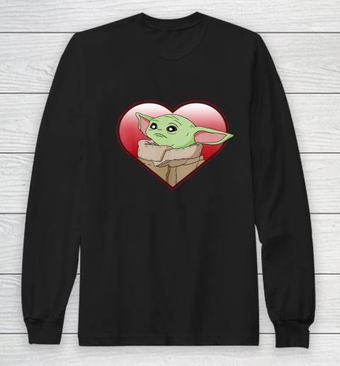 Star Wars The Mandalorian The Child Valentine Heart Portrait Long Sleeve T-Shirt