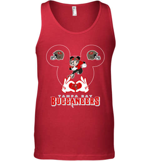 hto3 i love the buccaneers mickey mouse tampa bay buccaneers s unisex tank 17 front red