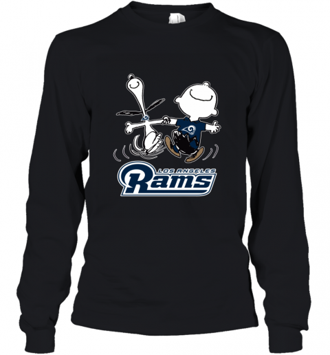 Snoopy And Charlie Brown Happy Los Angeles Rams Youth Long Sleeve