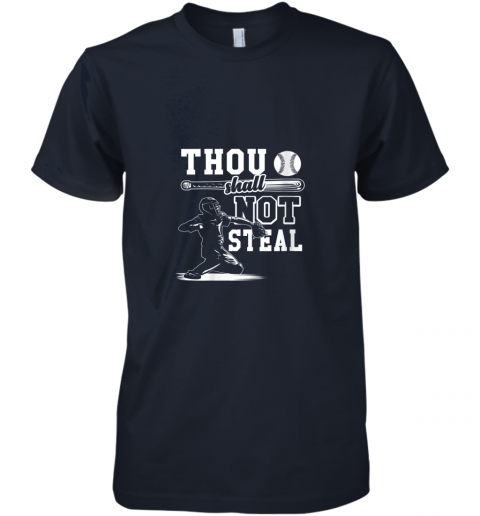 qjda funny baseball thou shall not steal baseball player premium guys tee 5 front midnight navy