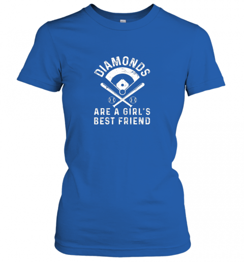 ajwo diamonds are a girl39 s best friend baseball ladies t shirt 20 front royal