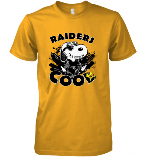 5rgc oakland raiders snoopy joe cool were awesome shirt premium guys tee 5 front gold