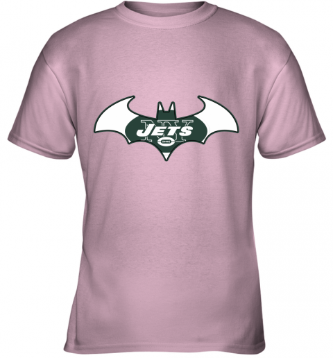 yafx we are the new york jets batman nfl mashup youth t shirt 26 front light pink