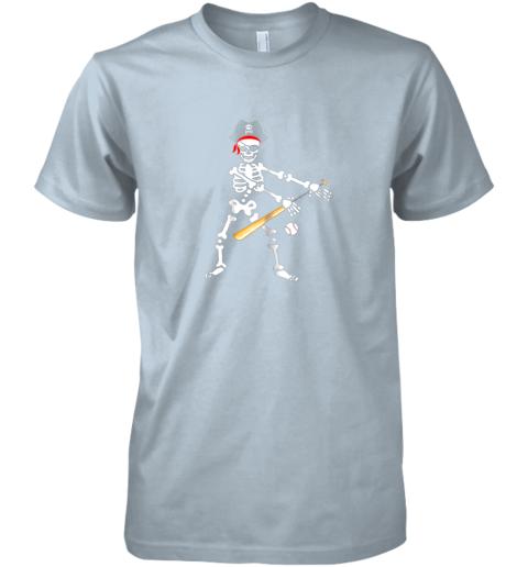 iq5u skeleton pirate floss dance with baseball shirt halloween premium guys tee 5 front light blue
