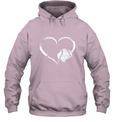 lxql i love baseballl funny baseball lover heartbeat hoodie 23 front light pink
