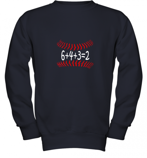 px1n funny baseball 6432 double play shirt i gift 6 4 32 math youth sweatshirt 47 front navy