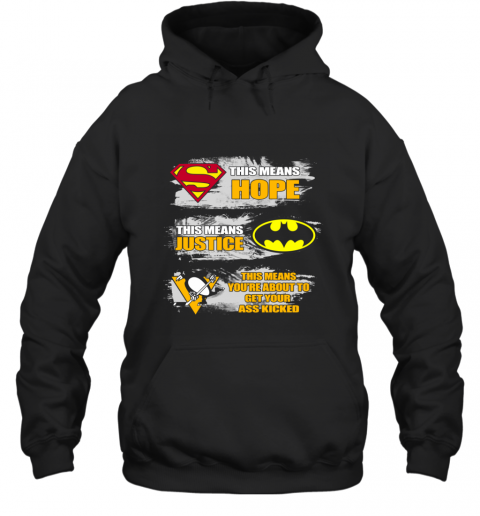 Superman Batman Pittsburgh Penguins Kick Your Ass Hoodie
