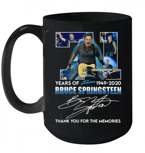 71 Years Of Bruce Springsteen 1949 2020 Signature Thank You For The Memories Ceramic Mug 15oz