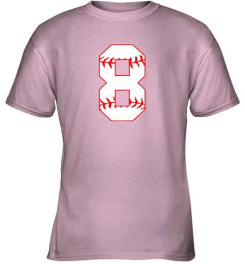4bq0 cute eighth birthday party 8th baseball shirt born 2011 youth t shirt 26 front light pink