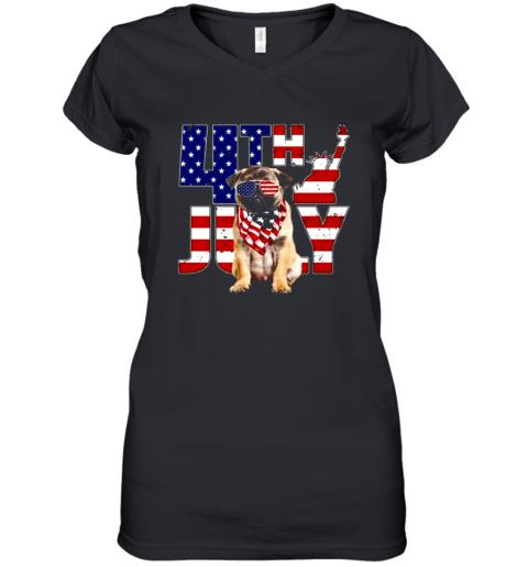 4th of July Pug shirt Women's V-Neck T-Shirt