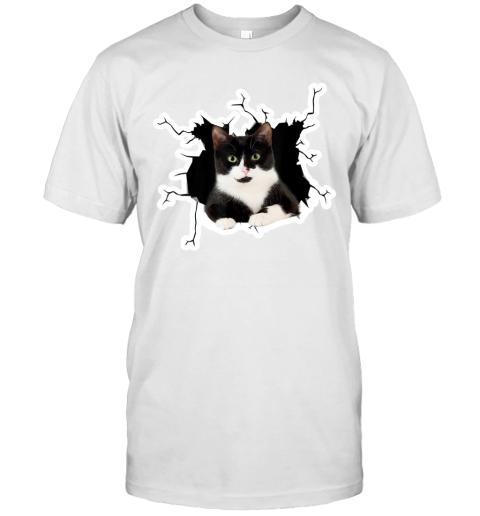 Tuxedo Cat Crack Hole Tuxedo Cat Ripper Torn Halloween gift T-Shirt