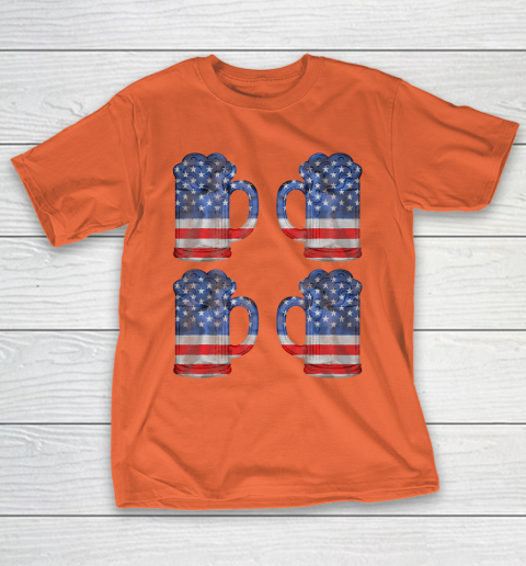 Beer Lover Funny Shirt Beer American Flag 4th Of July Merica T-Shirt 4