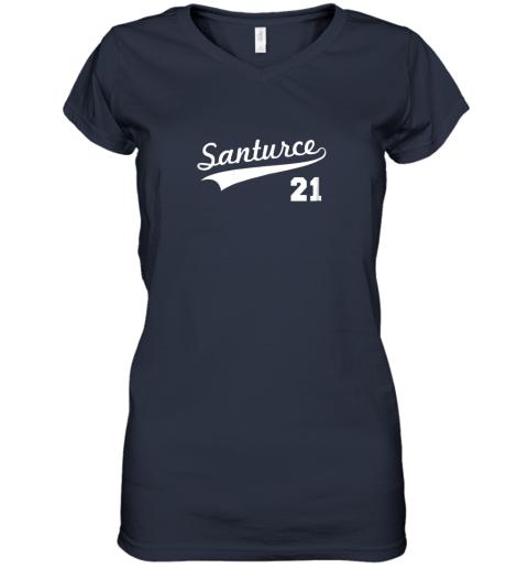 mxgk vintage santurce 21 puerto rico baseball women v neck t shirt 39 front navy