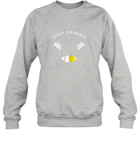 hpqw busy raising ballers softball baseball mom funny gift sweatshirt 35 front sport grey