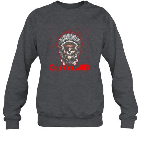 hv2y cleveland hometown indian tribe vintage baseball fan awesome sweatshirt 35 front dark heather