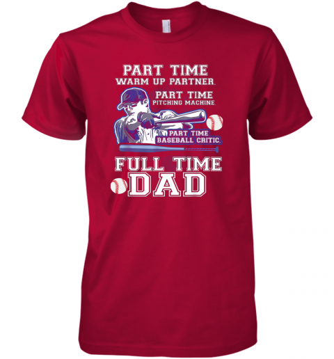 krx1 mens part time warm up partner pitching machine baseball dad premium guys tee 5 front red