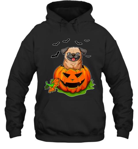 Halloween Pug Dog Lovers Pumpkin Grunge Jack O Lantern Hoodie