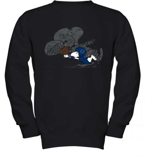 Indianapolis Colts Snoopy Plays The Football Game Youth Sweatshirt
