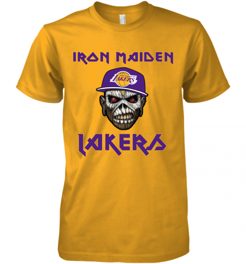 9slf nba los angeles lakers iron maiden rock band music basketball premium guys tee 5 front gold