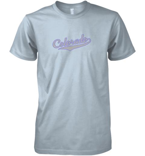 l8mn colorado shirtretro baseball script design premium guys tee 5 front light blue